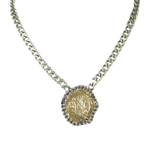 VINTAGE SILVER MOLAT CRYSTAL BEZEL NECKLACE