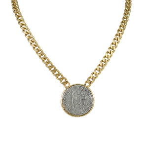 GOLD ST. BLAISE CURB CHAIN NECKLACE