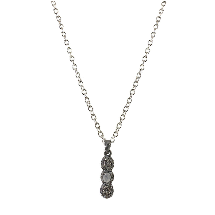 GUNMETAL HATI MOONSTONE & COIN NECKLACE