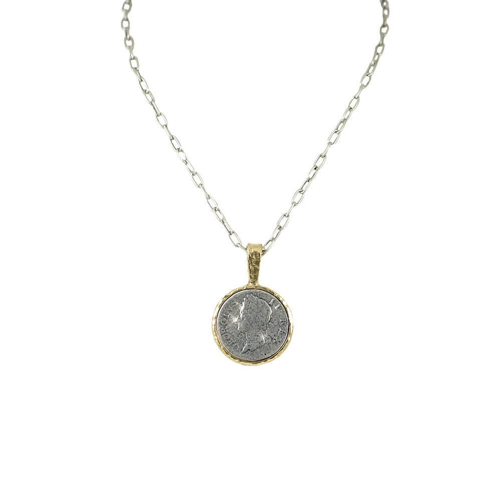 GOLD GEORGE II PENDANT & CHAIN NECKLACE