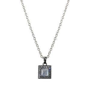 GUNMETAL BAIRI MOONSTONE & CRYSTAL PENDANT NECKLACE