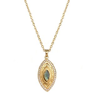 GOLD MINI SEONI LABRADORITE PENDANT NECKLACE