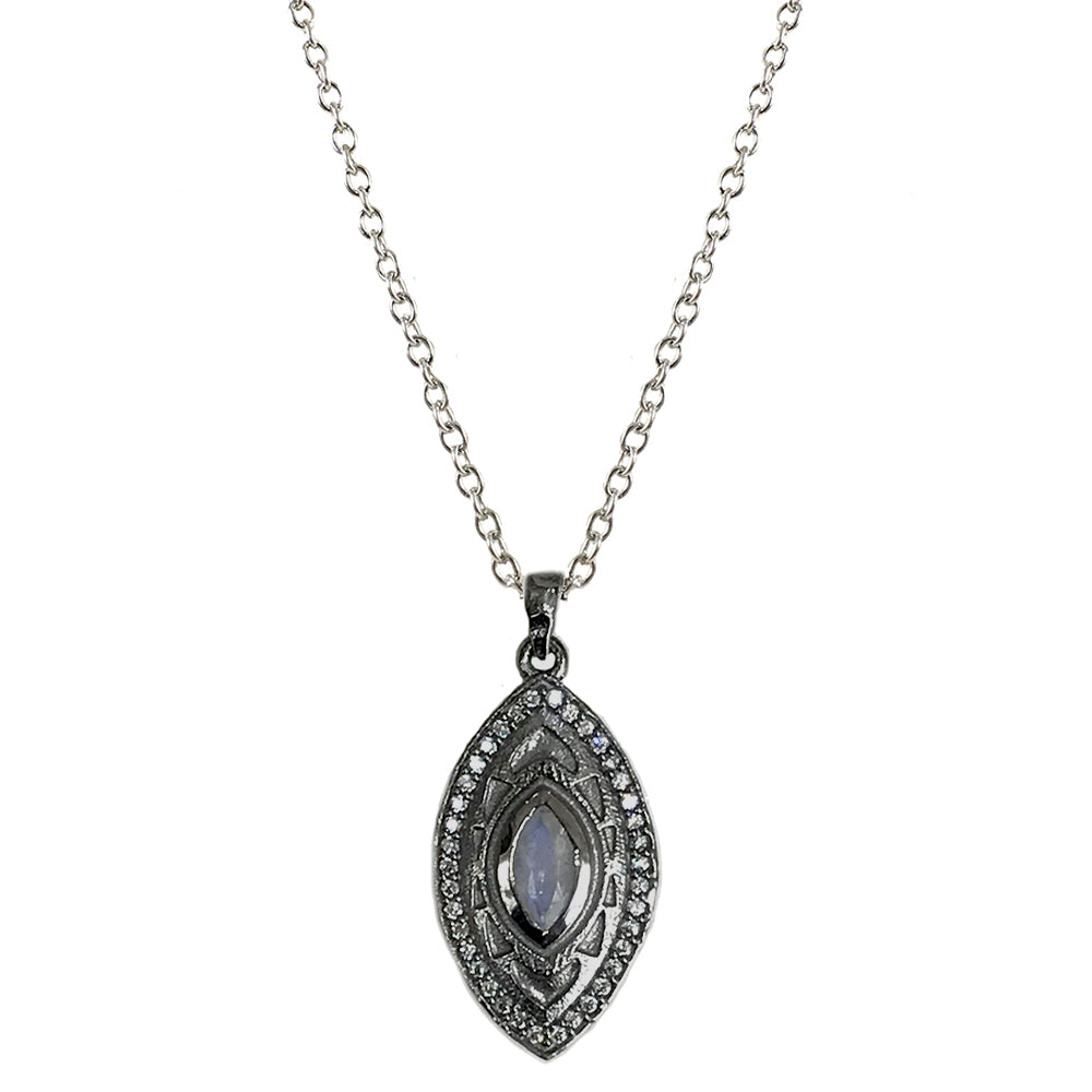 GUNMETAL MINI SEONI MOONSTONE PENDANT NECKLACE