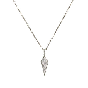 VINTAGE SILVER VELEN CRYSTAL KITE PENDANT NECKLACE