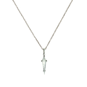 GUNMETAL ATILLA MOONSTONE KITE PENDANT NECKLACE