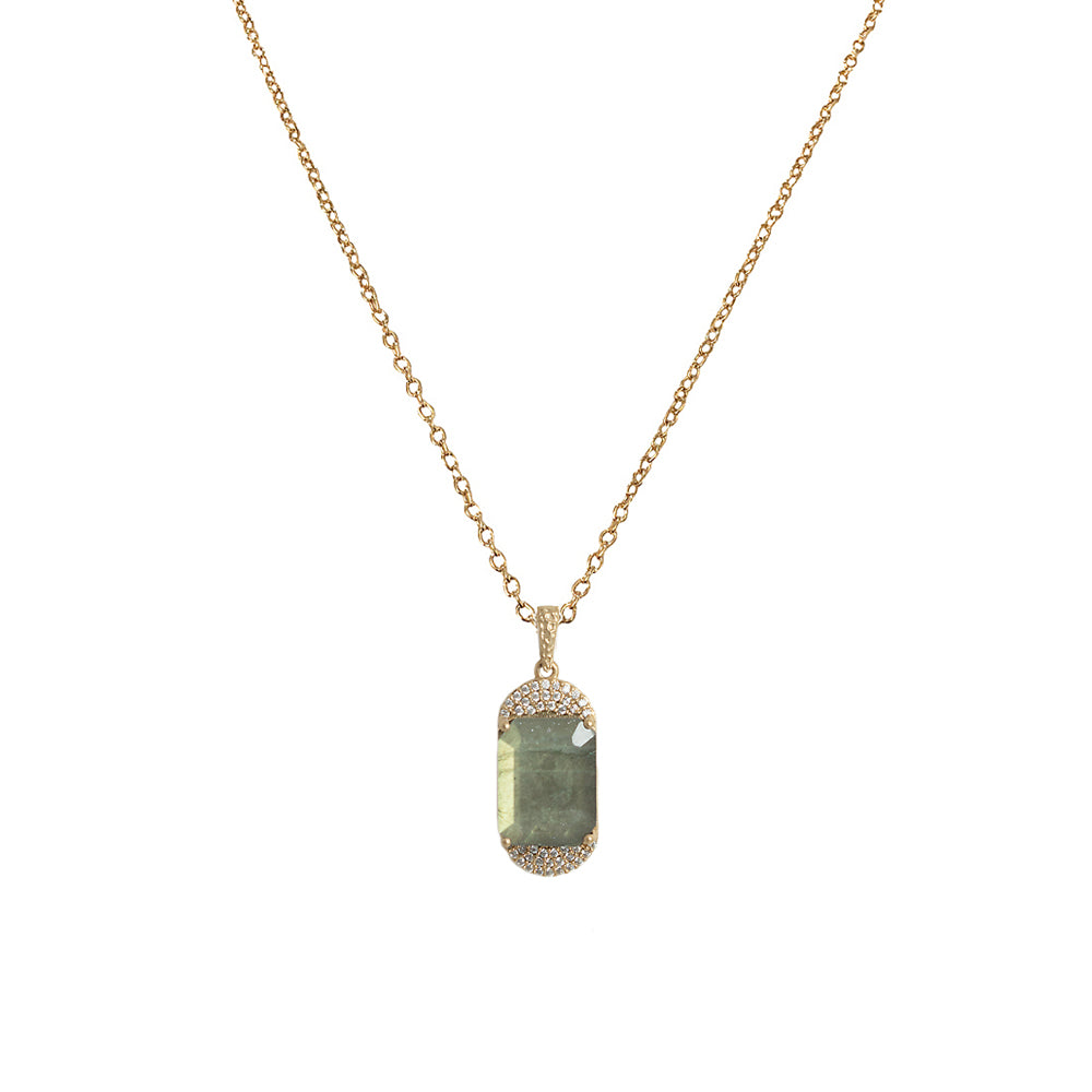GOLD KOSOR EMERALD CUT LABRADORITE & CRYSTAL NECKLACE