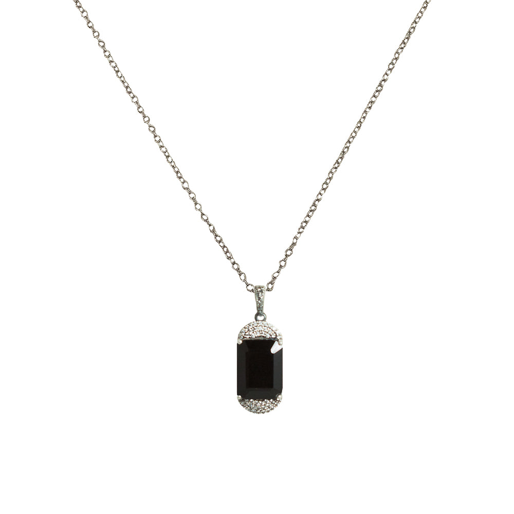 VINTAGE SILVER KOSOR EMERALD CUT ONYX & CRYSTAL NECKLACE