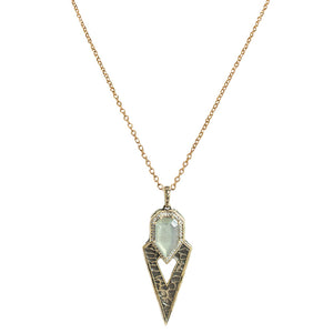 VINTAGE GOLD SASAD LABRADORITE & CRYSTAL POINT PENDANT NECKLACE