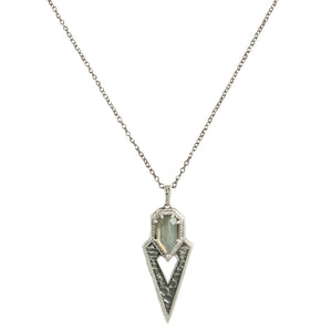 VINTAGE SILVER SASAD LABRADORITE & CRYSTAL POINT PENDANT NECKLACE