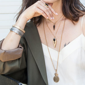 GOLD SASAD ONYX & CRYSTAL POINT PENDANT NECKLACE