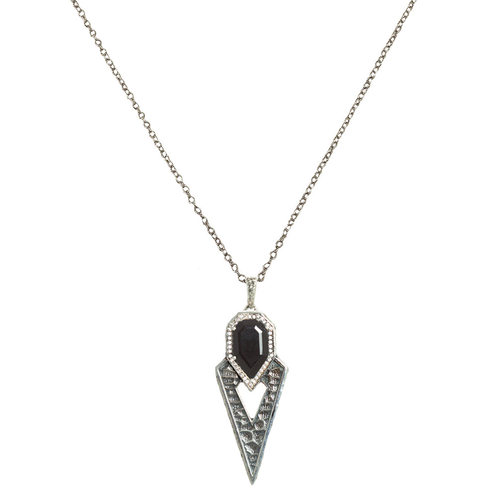 VINTAGE SILVER SASAD ONYX & CRYSTAL POINT PENDANT NECKLACE