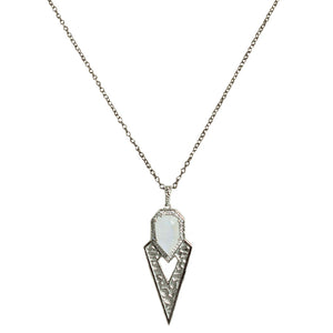 GUNMETAL SASAD MOONSTONE & CRYSTAL POINT PENDANT NECKLACE