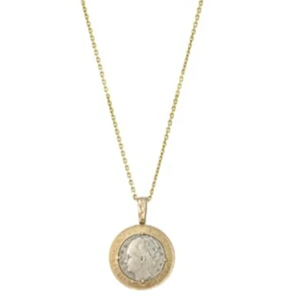 GOLD WILHELMINA COIN & CRYSTAL NECKLACE