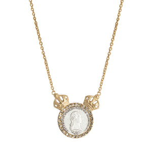 GOLD FRANCIS II DOUBLE CROWN & CRYSTAL BEZEL NECKLACE