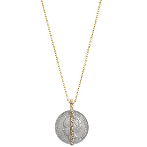 GOLD WILHELMINA COIN & CRYSTAL BAR NECKLACE