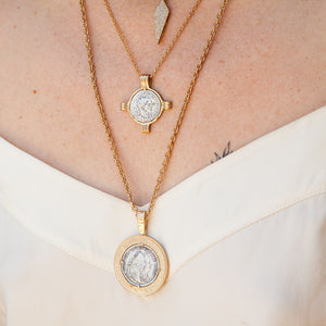 GOLD MARIA THERESA COIN & FRAME NECKLACE
