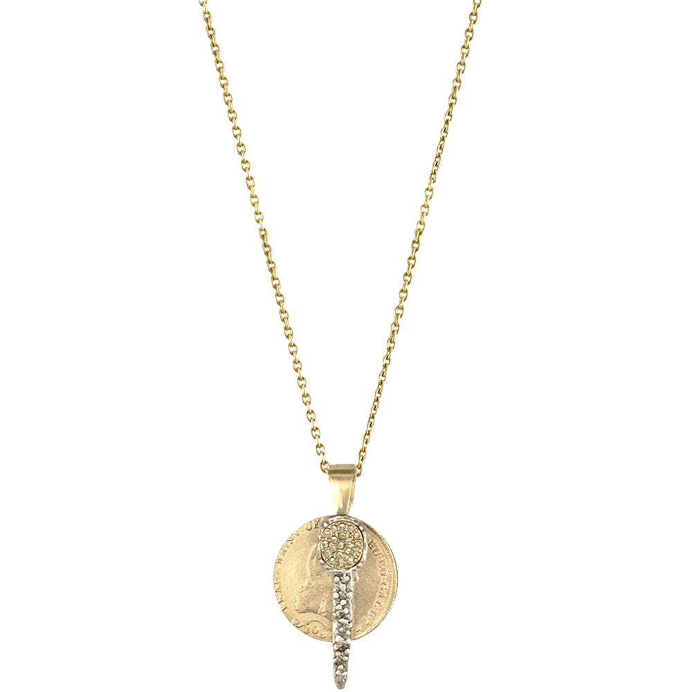 GOLD FRANCIS II CRYSTAL COIN & BAR CHARM NECKLACE