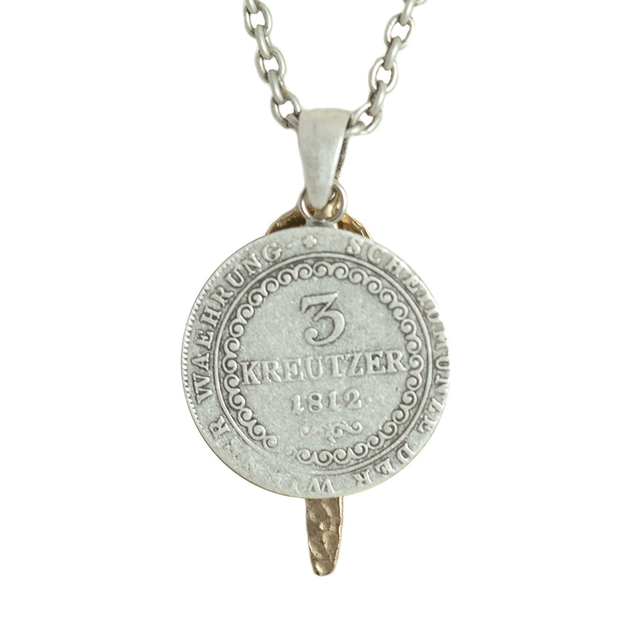VINTAGE SILVER FRANCIS II CRYSTAL COIN & BAR CHARM NECKLACE