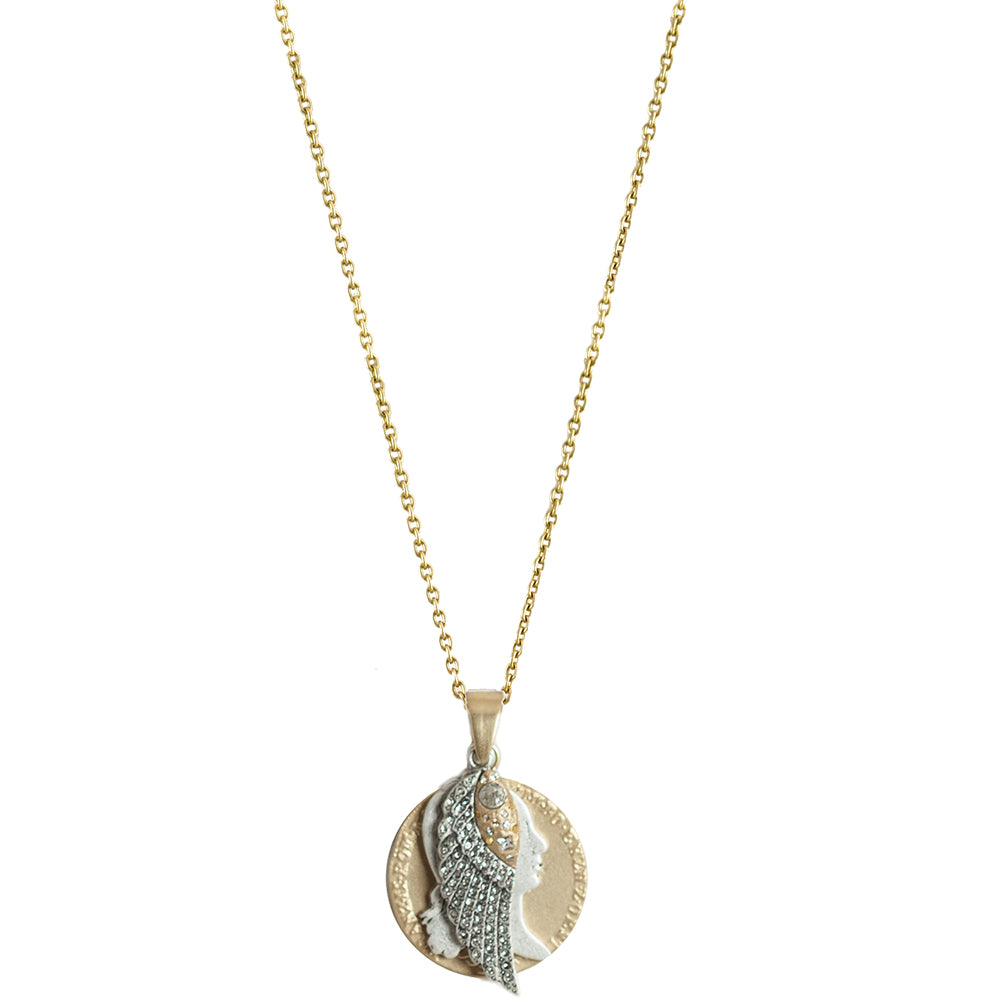 GOLD FRANCIS II COIN & WING CHARM NECKLACE