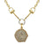 GOLD GEORGE II CRYSTAL BEZEL HORSEBIT NECKLACE