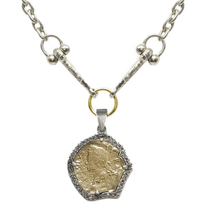 VINTAGE SILVER GEORGE II CRYSTAL BEZEL HORSEBIT NECKLACE