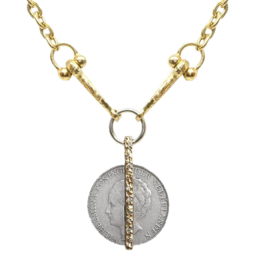 GOLD CRYSTAL BAR & WILHELMINA COIN HORSEBIT NECKLACE