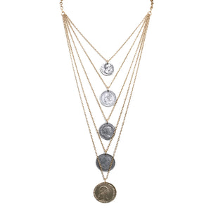 GOLD DYNASTY 5 TIER MULTI CHAIN & COIN NECKLACE
