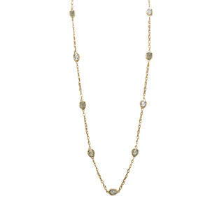 GOLD FAUSTINA COIN & CRYSTAL LONG STATION NECKLACE