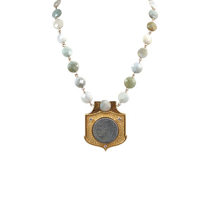 GOLD FRAME VS REPUBLIQUE GREEN AQUAMARINE SHIELD NECKLACE