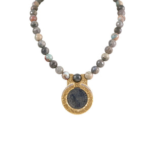 GOLD FRAME VS REPUBLIQUE LABRADORITE & BLUE OPAL CIRCULAR NECKLACE