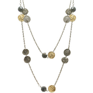 VINTAGE SILVER COIN & LABRADORITE STATION NECKLACE
