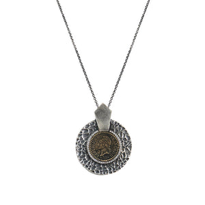 VINTAGE SILVER HAMMERED CIRCULAR SHIELD VG DUPRÉ NECKLACE