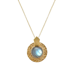 GOLD LABRADORITE HAMMERED CIRCULAR SHIELD NECKLACE