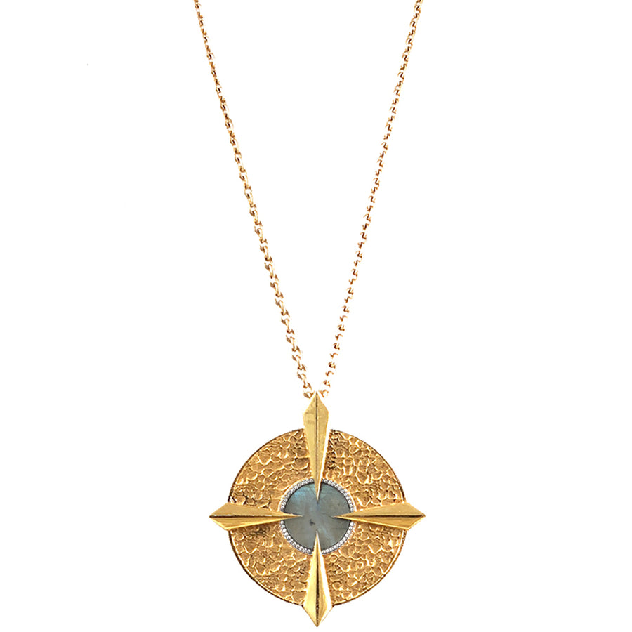GOLD LABRADORITE COMPASS NECKLACE