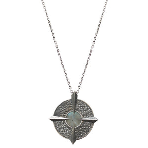 VINTAGE SILVER LABRADORITE COMPASS NECKLACE