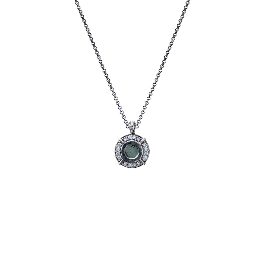 VINTAGE SILVER FRAME MINI LABRADORITE NECKLACE