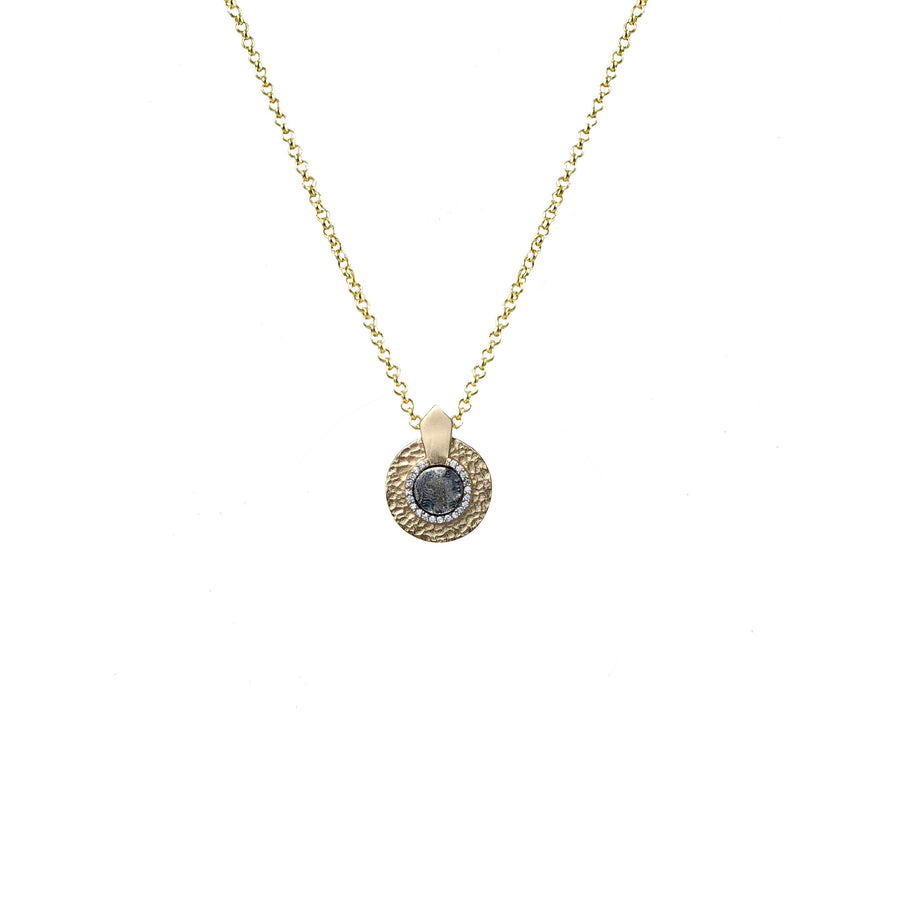 GOLD HAMMERED CIRCULAR SHIELD VS MINI DUPRÉ NECKLACE