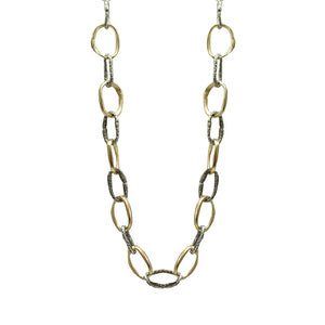 TWO TONE LOOP LINK NECKLACE
