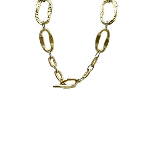 GOLD SHORT HAMMERED LINK NECKLACE