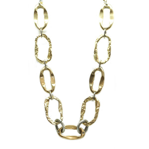 Short Gold Hammered Link Necklace