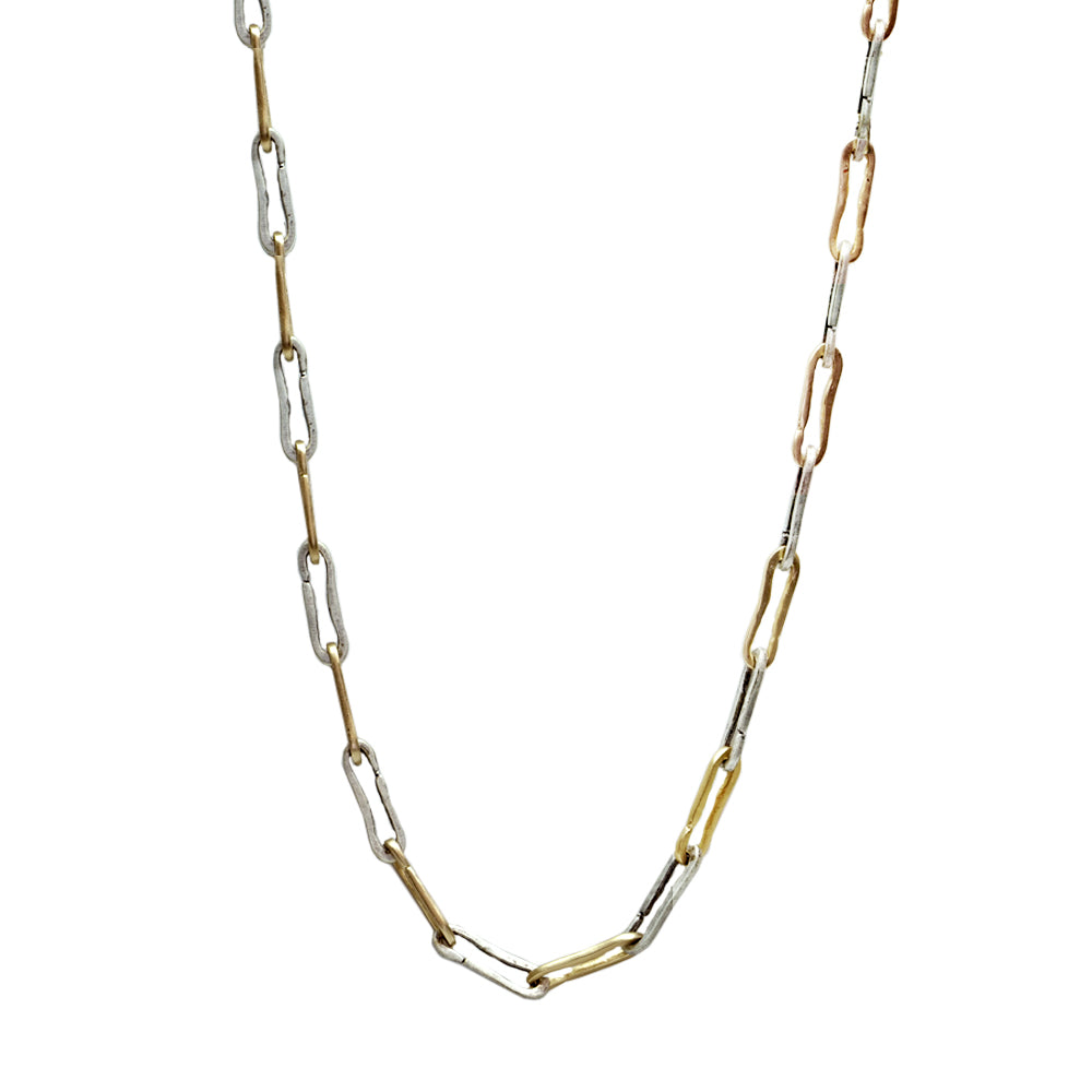 TWO TONE SAFETY PIN LINK NECKLACE