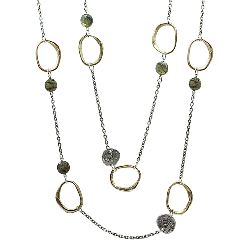 VINTAGE SILVER & LABRADORITE LOOP & COIN NECKLACE