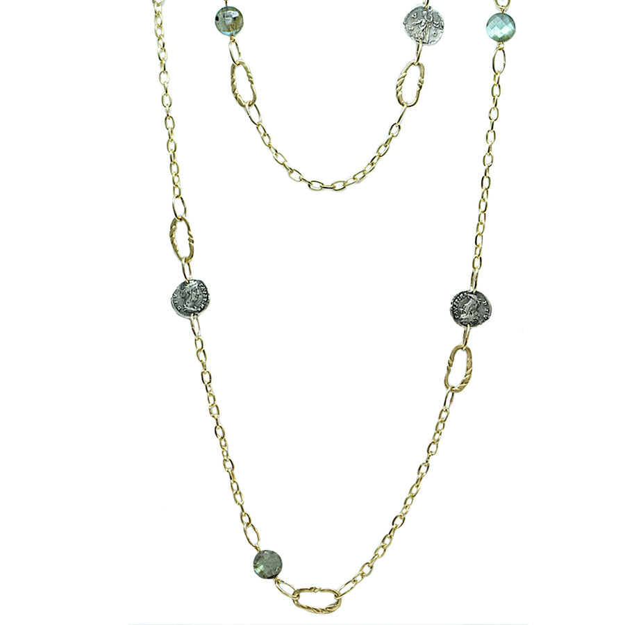 GOLD & LABRADORITE TWISTED LINK & COIN STATION NECKLACE