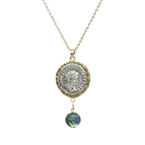 GOLD MAXIMIANUS LABRADORITE NECKLACE WITH BAIL