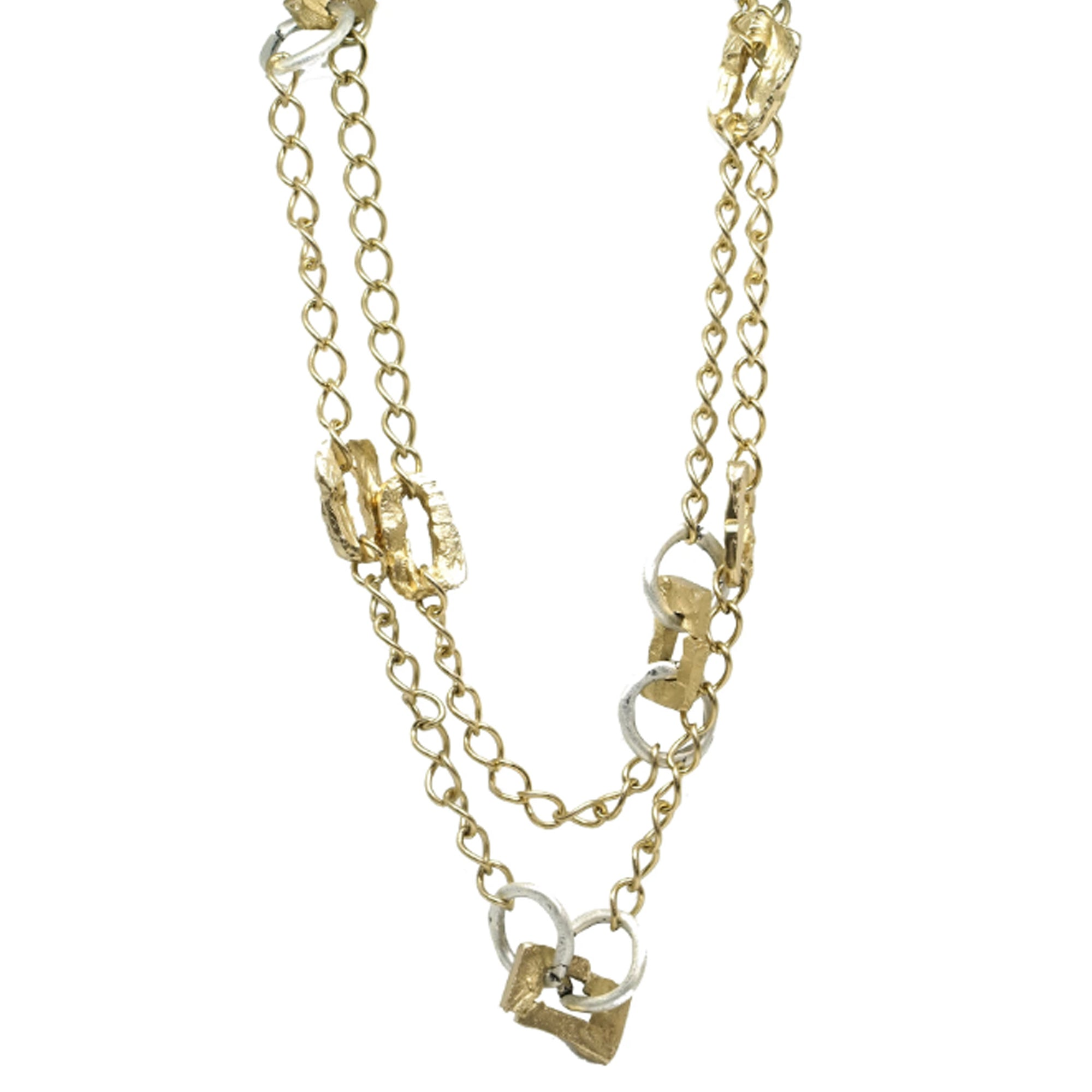 RECTANGULAR LINK AND CIRCLE STATION NECKLACE