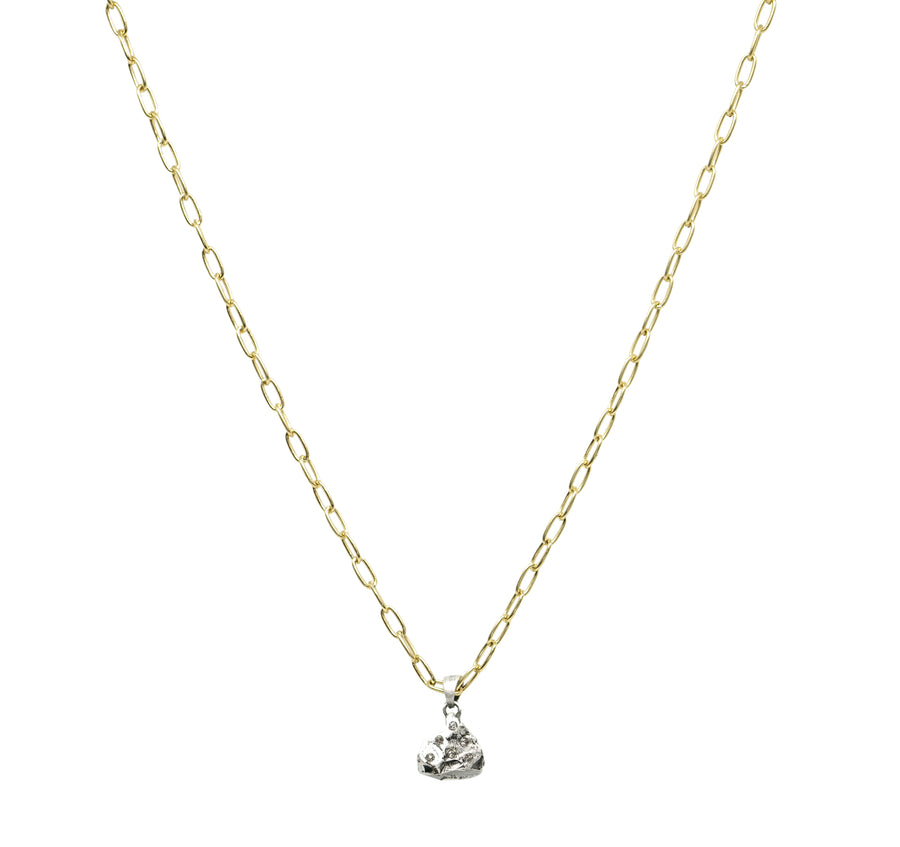 GOLD DAINTY CHAIN CRYSTAL NUGGET NECKLACE