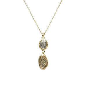 GOLD COIN & CRYSTAL IMPRESSION NECKLACE