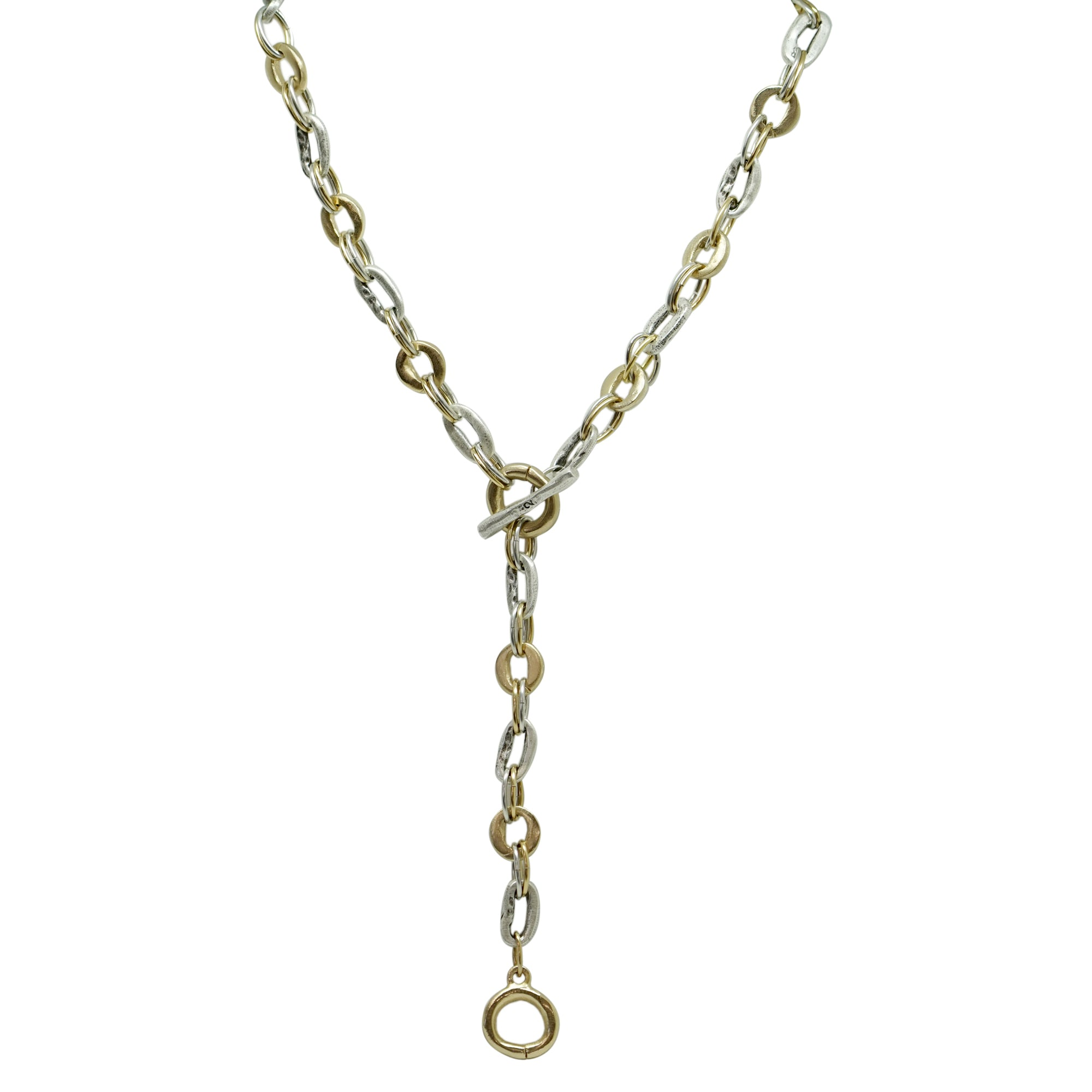 TWO TONE MINI LOOP LINK Y NECKLACE / 31""