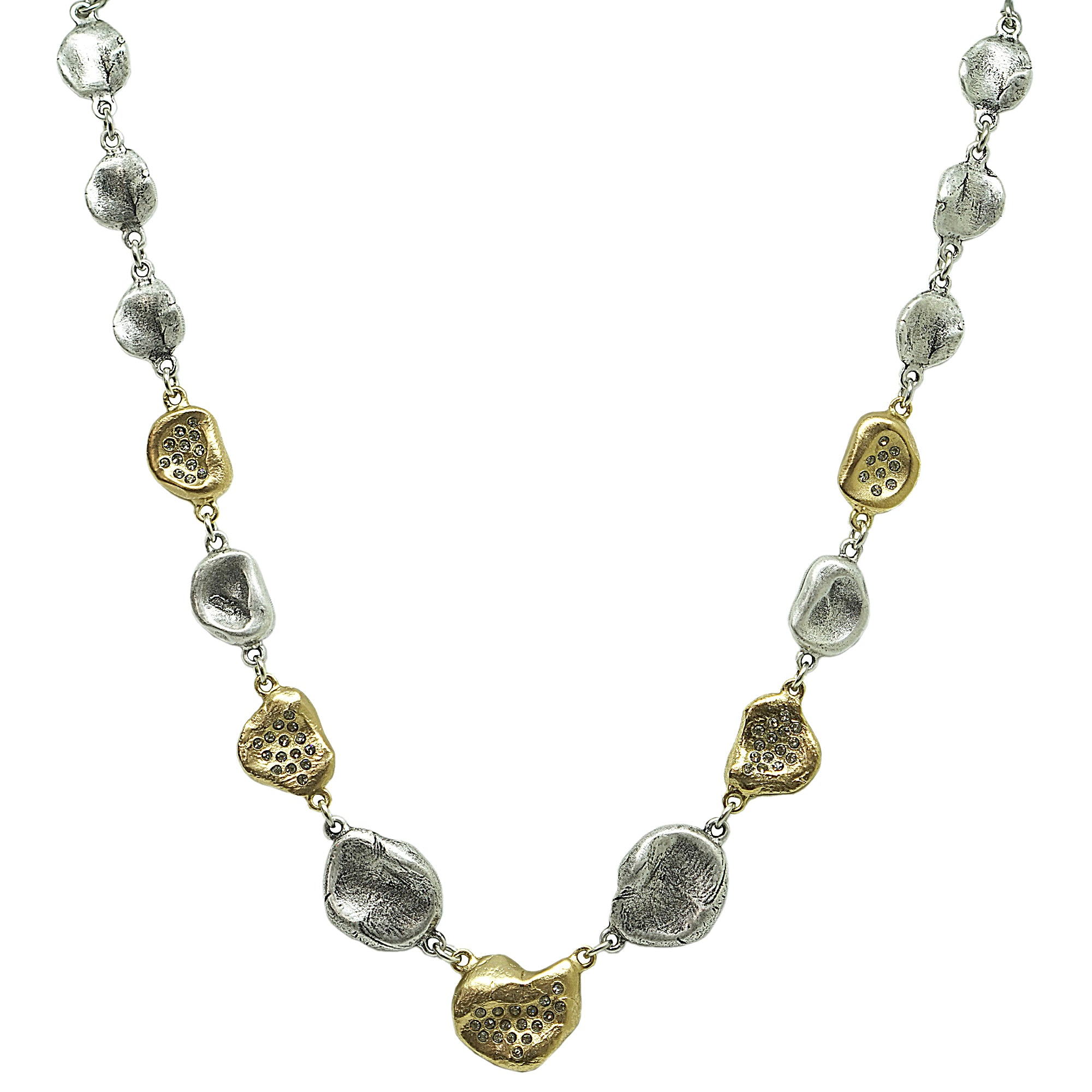 TWO TONE GRADED IMPRESSION NECKLACE