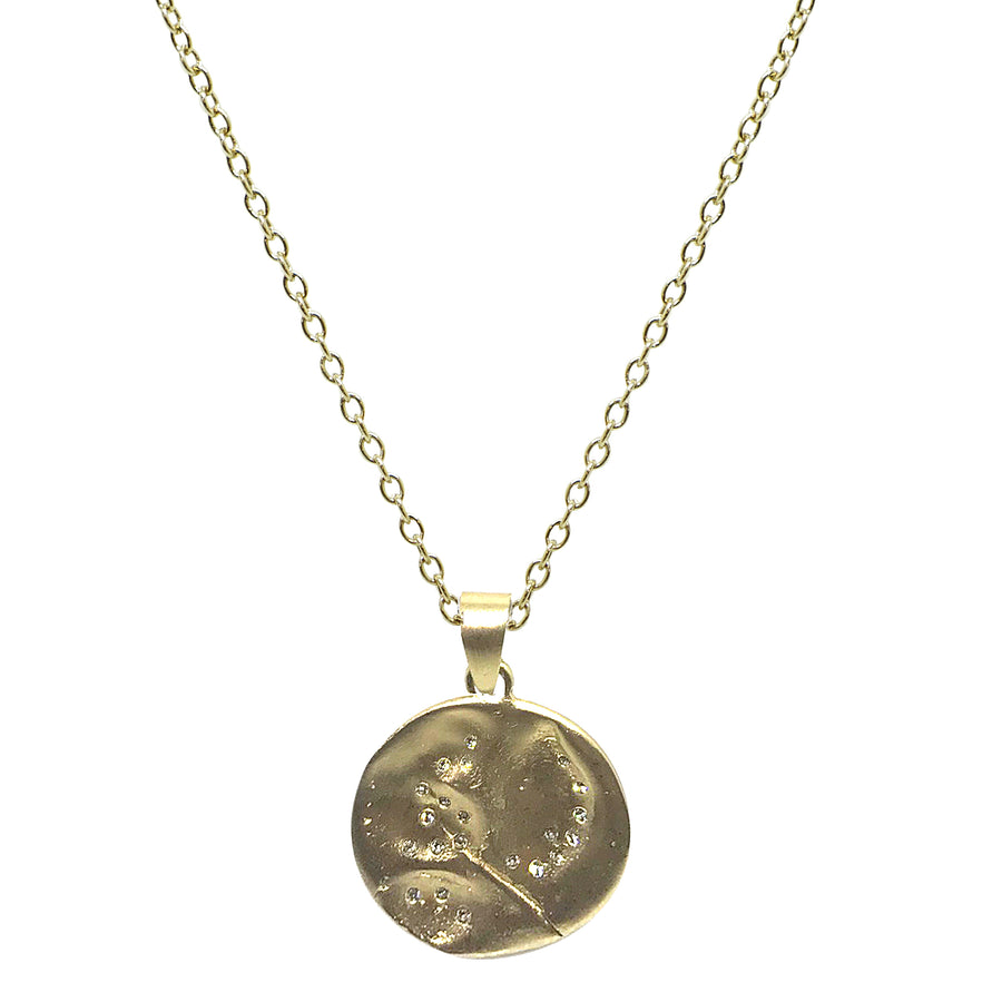 GOLD SWIRL IMPRESSION PENDANT NECKLACE
